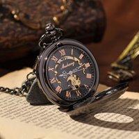antique pocket watch brands - Black Vine Vine Skeleton Steampunk Pocket Watch With Chain Cool Luxury Brand Mechanical Vine Roman Numbers Pocket Watch