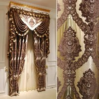Wholesale Home Decoration d jacquard chenille Blinds curtain Embroidery Tulle Curtain For Living Room set sheer curtains for windows
