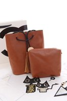 Wholesale European and American Style fashion bucket simple purl bag retro single shoulder bag drew string bag