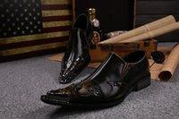 Cheap Wholesale-Brand Rivets Men Dress Shoes Genuine Leather Slip On Men Shoes Black Formal Men Oxford Shoes For Men Fashion Wedding Shoes Flats