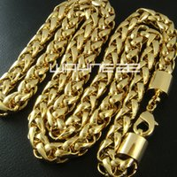 Wholesale 18K CT Gold Filled Hallmark Men s Weaved cm Lenght Heavy Chain Necklace N49
