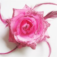 barrettes for crafts - cm colors feather rose flower with clip and elastic band for corsage DIY hair crafting accessory
