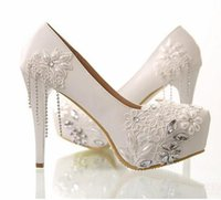 Wholesale 2015 High Heel Wedding Shoes Lace Pearls cm Party Shoes
