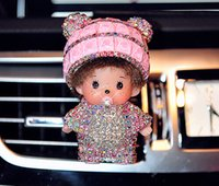 Wholesale 2015 cute and lovely MONCHHICHI diamond cartoon car outlet perfume upscale car balm mix color DHL FREE SHIPING