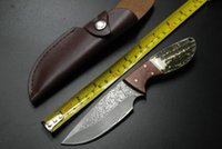 outdoor tools - Browning Wild Duck Damascus Straight Tactical Camping Knife HRC Antlers Red Shadow Wood Hunting Knife Outdoor Survival EDC Tools
