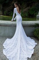 Wholesale 2014 Fascinating White Lace Wedding Dresses Bateau Neck Long Sleeves Backless Sexy Vintage Mermaid Court Train Bridal Gowns