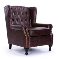 antique leather furniture - New classical European American leather sofa chair furniture vintage antique finish living room sofa tiger chair