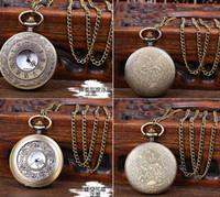 2015 Moda Hombres Mujeres hueco de bronce del reloj de bolsillo collar colgante 5Pcs Lot libera la nave mejor calidad