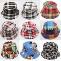 Cheap Free shipping 5pcs lot 2015 new child bucket hat Spring autumn kids flower print bonnet girls boys sun beach plaid canvas sunhat