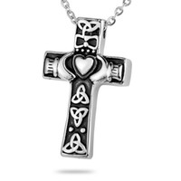 animal memorial gifts - Lily Memorial Pendant Cremation Urn Cross Hands open With Chain Necklace with gift bag and chain