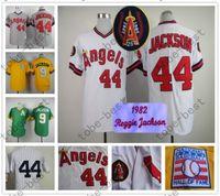 baseball career - Reggie Jackson Jersey Of Career Los Angeles Angels Oakland Athletics NYK Jerseys White Yellow Green Grey