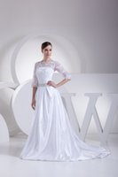advance line - New Arrival Bateau Neck Lace Appliuqes Sequins Waist A line Wedding Gowns Long Sleeves Free Shiping Advanced Customization