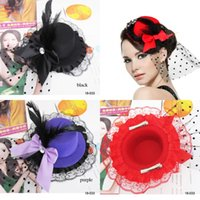 mini top hat hair clip - Vintage Wedding Hair Accessories Headpiece Cocktail Party Bow Feather Hair Clip Mini Top Hat Fascinato Women Corsage Brooch Black Red Purple