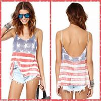 al por mayor xs ropa en línea-Alta calidad únicos spaghetti verano bandera de los Estados Unidos impreso tanques Camis Balck casual mujeres vestidos Tops Tees baratos en línea