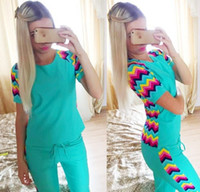 Wholesale 2015 New Arrival Hot Sale Fashion Women Rainbow Printing Stripe Short Sleeve Long Pant Casual Leisure Sport Tracksuits