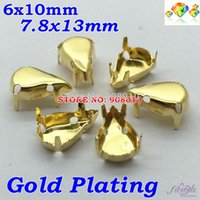 Wholesale 6x10mm x13mm Pear Drop shape Gold Metal Claw Setting Teardrop Claw Cups x13mm x6mm