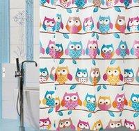 Wholesale Owl PEVA Shower Curtain WaterProof Cartoon Colorful Design Bathroom x180cm
