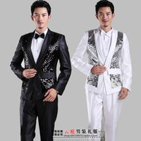 Cheap 2015 White One Button sequins men's suit wedding Suit tuxedos groom tuxedo Suits Bridegroom(Jacket+Pants+Tie+)