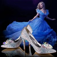 beautiful shoes - 2015 Beautiful Cinderella Crystal Bridal Wedding Shoes High Heels Rhinestone Formal Occasion Butterfly Cinderella Crystal Shoes NO