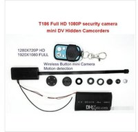 Wholesale T186 Full HD P Security Mini DV Camera Module Hidden Spy CCTV DVR Camcorders recorder recording lens wireless remote control
