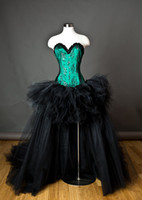 Wholesale Exaggeration Scary Black and Green Halloween Party Dresses with Strapless Horror Tulle Hi Lo Gothic Corset Gothic Victorian Gowns HOT