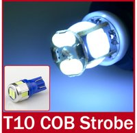 Wholesale 5pcs T10 W5W COB SMD LEDs Bulb Width Light Lamp Modes Strobe Flash Light Idicator Light Signal Brake Lamps V