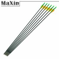 Wholesale 6PCS quot mm Fiberglass Plastic Fletching Archery Arrows Target Practice Recurve Hunting Sport Glass Fiber Arrow