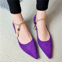 shoe chains - Nubuck metal flat shoes fashion shoes women new Korean with chain pointed Solid color