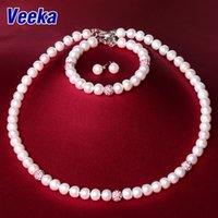 Wholesale Veeka jewelry sets natural pearls necklaces set freshwater pearl bracelet silver sterling white pearl stud earrings