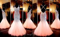 Wholesale Amazing Coral Mermaid Prom Dress Sweetheart Neckline Open Back Pageant Evening Gowns With Full Beaded Crystal Custom Real Picture Gowns