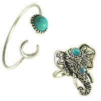 Wholesale Bohemian Vintage Style Silver Retro Turquoise Elephant Crescent Bracelet Bangle Ring Set For Gift Jewelry Set Sets