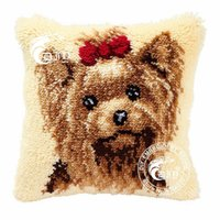 latch hook cushion kit - HOT Latch Hook Cushion Kits Gift DIY Needlework Crocheting Throw Pillow Unfinished Yarn Embroidery Pillowcase YORKSHIRE TERRIER