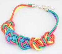 aqua neon - 2015 fashion Rope necklace Unique necklace Neon Flower women neckalce Boho necklace Hand made knot necklace