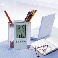 alarm clock purpose - Multifunctional transparent electronic pen multi purpose pen holder time alarm clock music Multi Function Clock