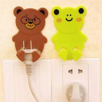 bathroom plug socket - 2Pcs Plastic Cartoon Animal Plug Socket Hanger Wall Adhesive Cute Hooks Home Decor Door Hanger Organizer Holder Hot