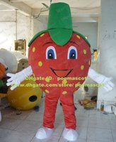 Cheap Vivid Red Strawberry Berries La Fresa Fragola Mascot Costume With Red Big Head White Arms Red Thin Long Legs No.4472 FS