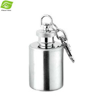 Wholesale Outdoor Portable Hip Flask OZ Stainless Steel Flagon With Keychain Whiskey Wine Bottle dandys