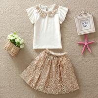 collar t-shirt - Girl s Suit Summer Fashion Korean Sequins Collar T shirt Sheet metal tutu Dancing skirt Children s clothing