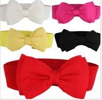 elastic belt - Fashion Women elastic waist belt hot Candy kinds Chiffon Bow Belts All match Wide Stretch Waist Elastic Cummerbund J547