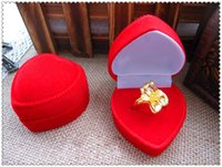 bijoux - Gold and Silver Jewelry Box Red Ring Box Flocking Heart Shaped Jewelry Gift Nox Packaging Boite a Bijoux jewelry box Gifts For Women ZB0260