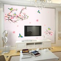 Wholesale 2015 New Arrival Plum Flower Blossom Magpies Removable Wall Sticker DIY Mural Home Room Decor Waterproof