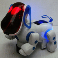 Wholesale Lovely Electronic Robot Walking Dog Puppy Toy Music Shine Pet Safe Kids Toy Lights Freeshipping
