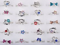 Band Rings band size small - Mix Silver Plated Assorted Design Crystal Ring Cute Kid Child Party Small Size Adjustable Fashion Heart ring