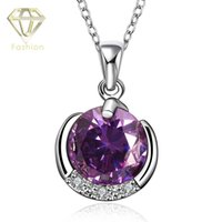 amethyst crystal meaning - Amethyst Meaning Necklace Platinum Plated Round Shaped Inlaid Cubic Zirconia with Purple Crystal Ball Pendant Necklaces Jewelry for Women
