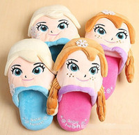 cartoon slippers - Hot Selling Slippers Autumn Winter Kids Plush Cartoon Warm Slippers Baby Shoes Room Wear Foot Wear Blue Pink J3093