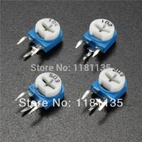 Wholesale 10pcs Vertical Blue Adjustable Resistors WH06 Trimmer Resistors Horizontal Pot Variable Cermet Potentiometer Connector