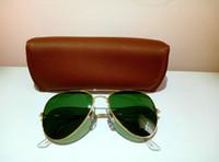 Livraison gratuite La vente de lunettes de soleil de femmes classiques cadre en alliage 58mm et 62mm lentilles de verre avec le Brown prévenir les écrasements