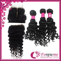 """Brazilian Hair Deep Wave 12-30inches 100% human hair One middle free part top Lace Closure with 3 Bundles 5A deep wave remy hair top Lace area 3.5""""x 4"""" brazilian hair closure"""