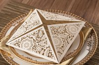 beach house accessories - HOT SALE Gold Black Ivory Lace Wedding Invitations Cards Laser Cut D Pop Up Hollow Floral Cut out Beach Wedding Party Supplies Accessories