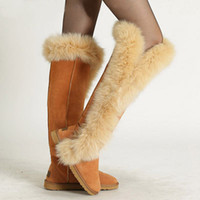 Longue en cuir femmes boot Avis-Mode Nature femmes en cuir grande fourrure de renard cuisse bottes de neige chaussures d'hiver longues